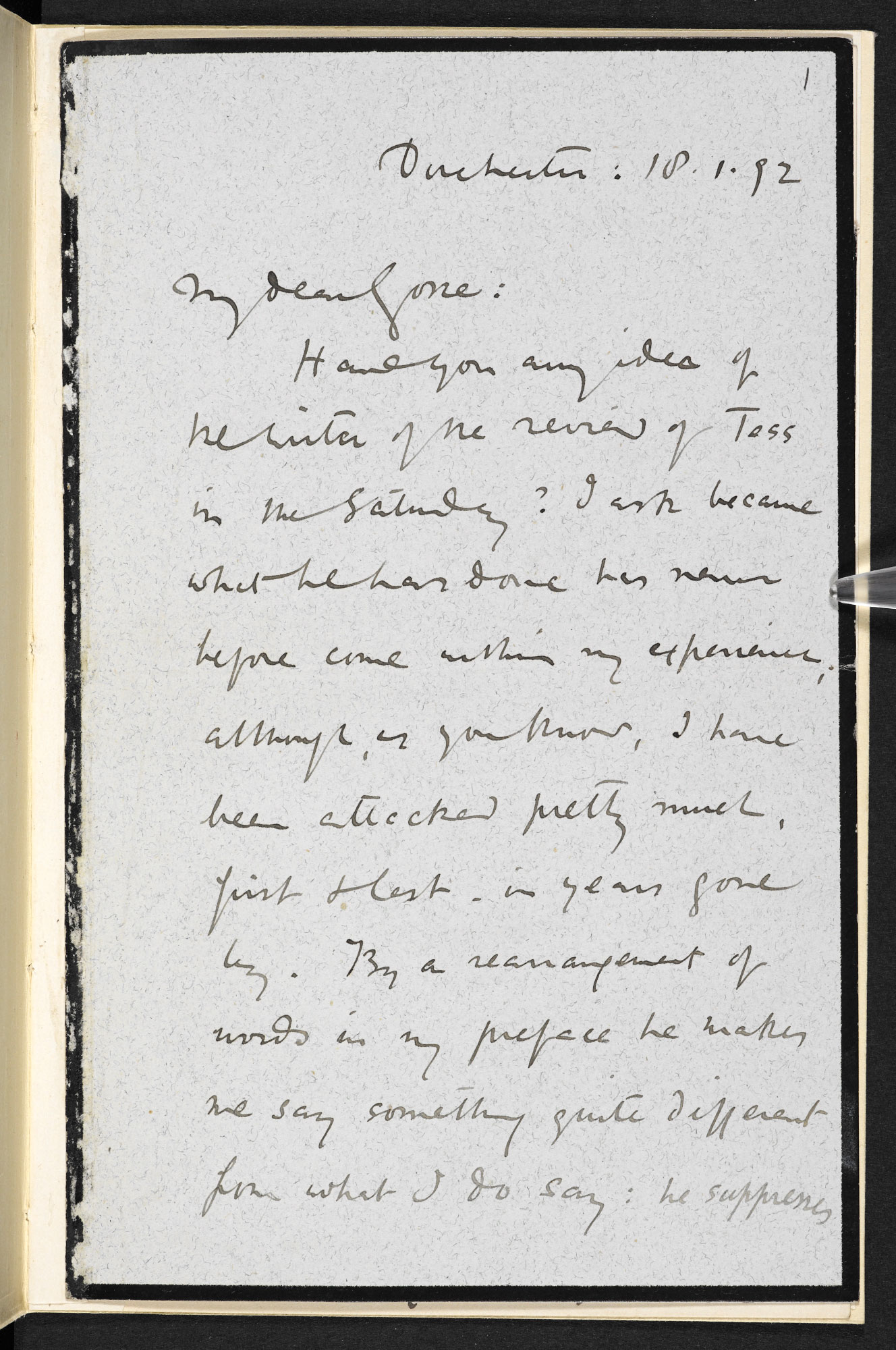 Letter from Thomas Hardy to Edmund Gosse, 18 January 1892