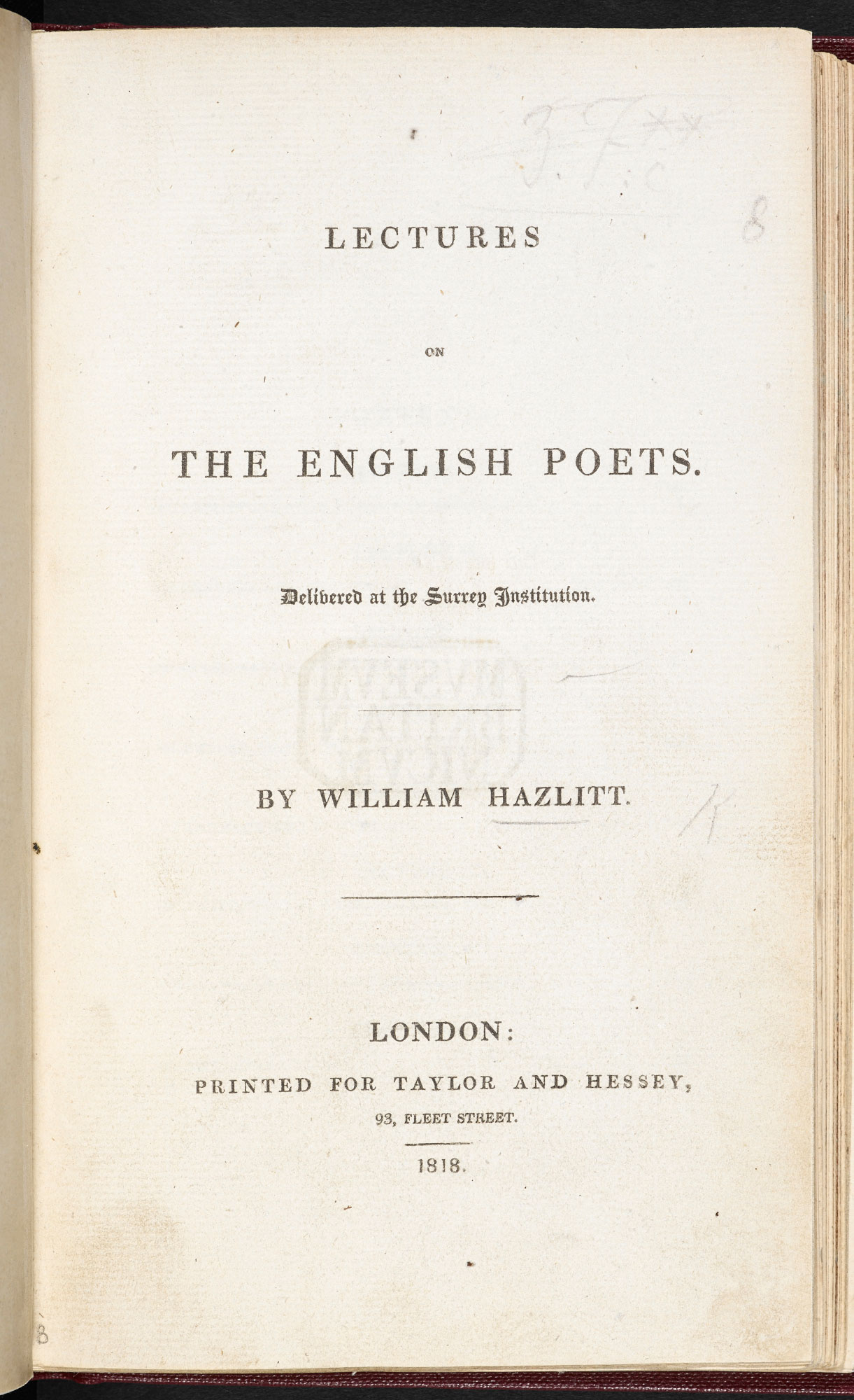Hazlitt's Lectures on the English Poets