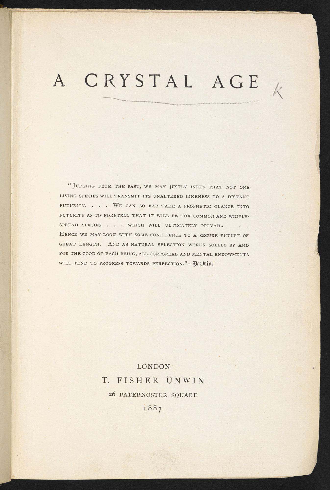 A Crystal Age, a utopian novel