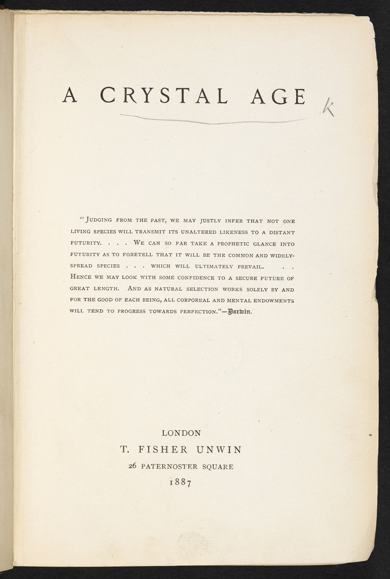 A Crystal Age, a utopian novel