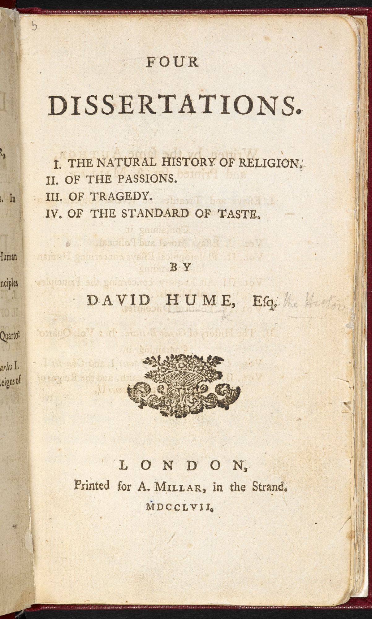 Four dissertations by enlightenment philosopher David Hume