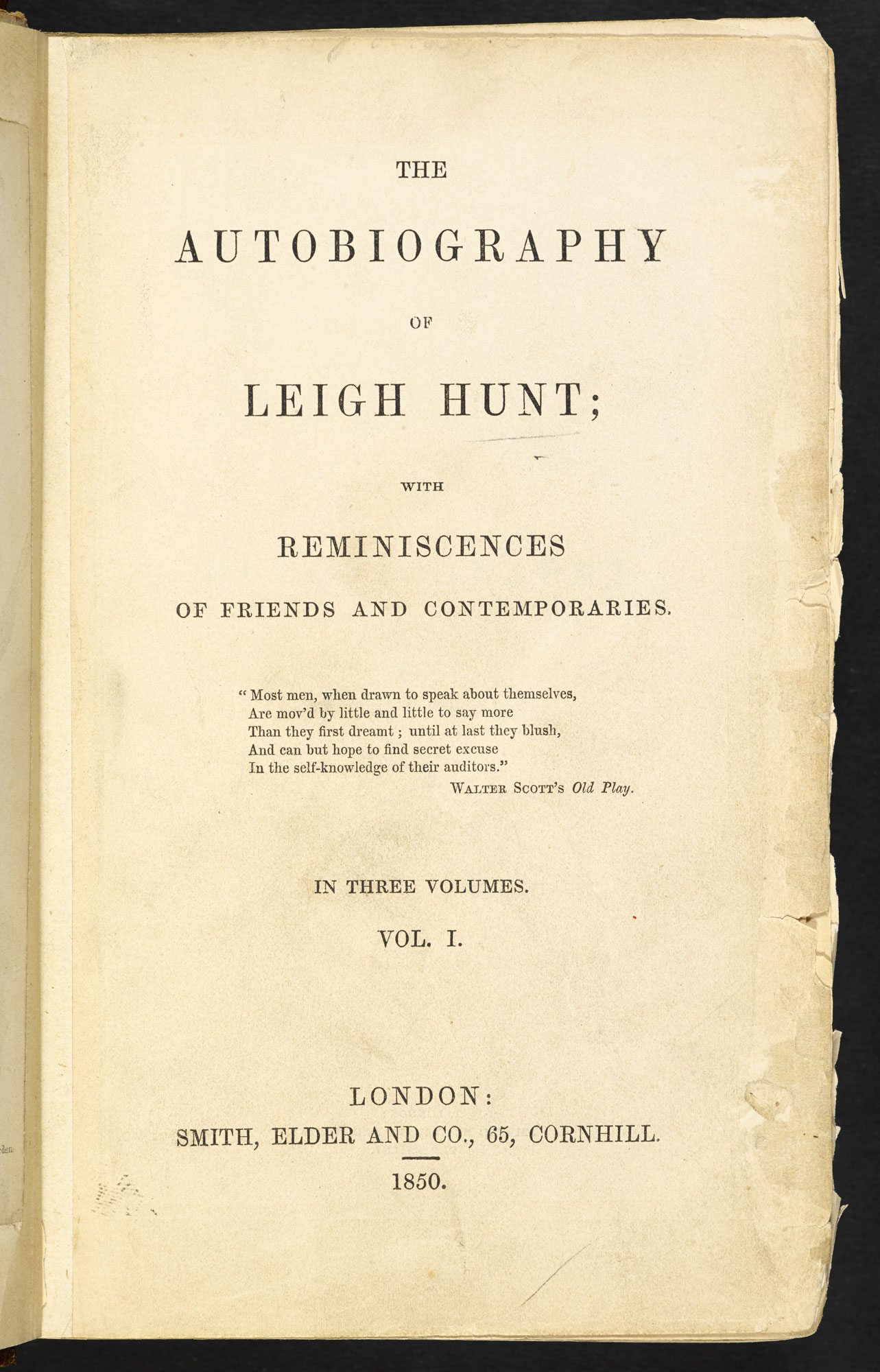 The autobiography of Leigh Hunt