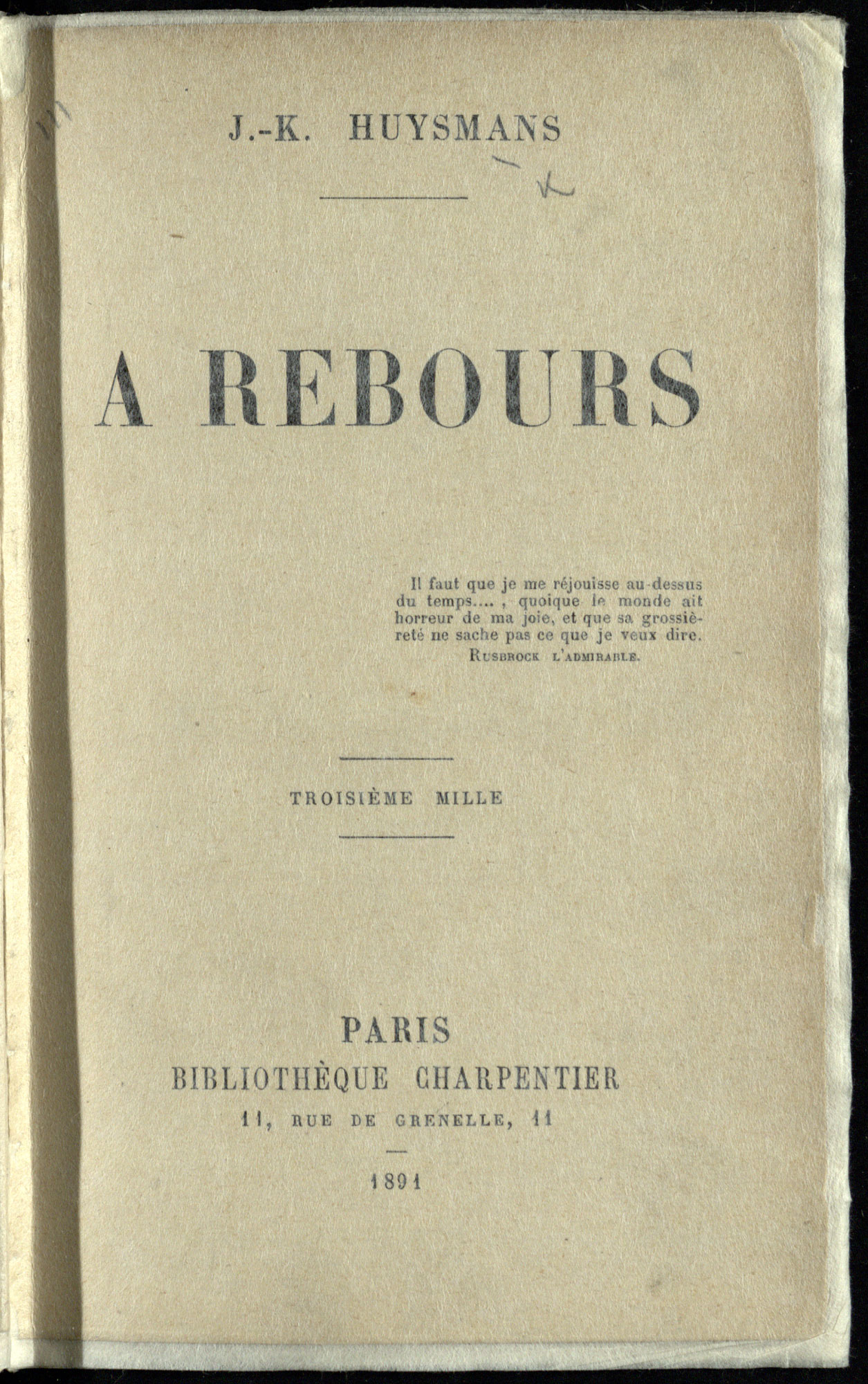 Decadent novel À rebours, or, Against Nature