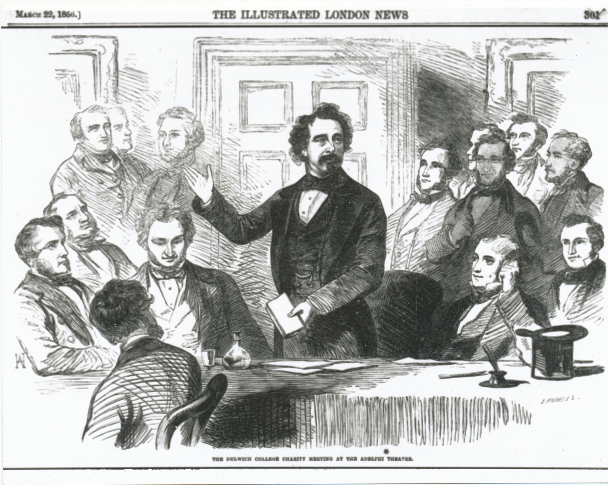 Charles Dickens speaking at the Dulwich College Charity Meeting at the Adelphi Theatre, from the Illustrated London News