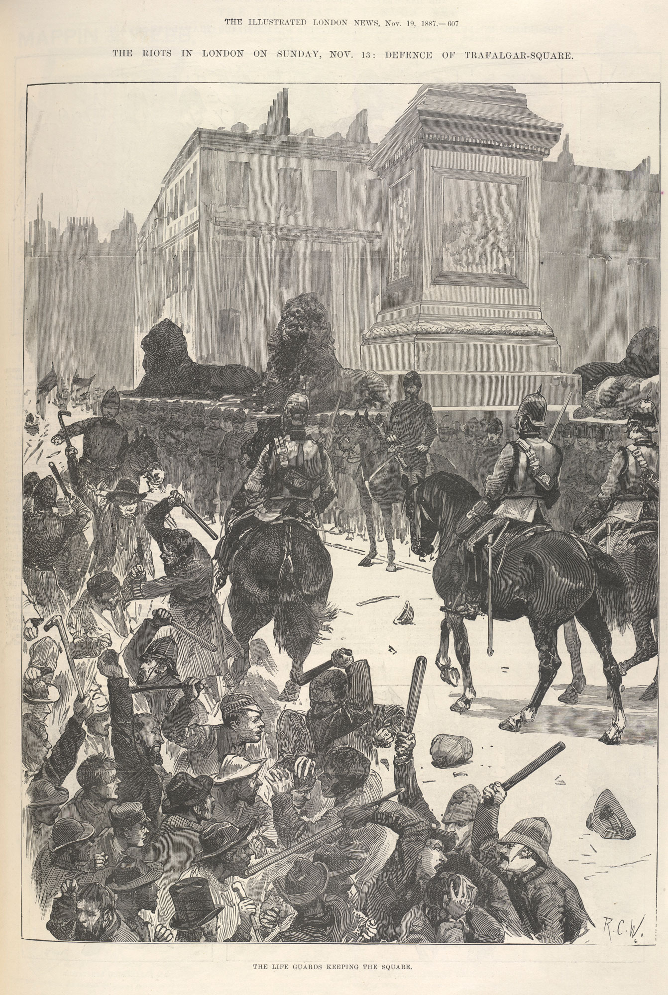 'The Riots in London on Sunday' from the Illustrated London News