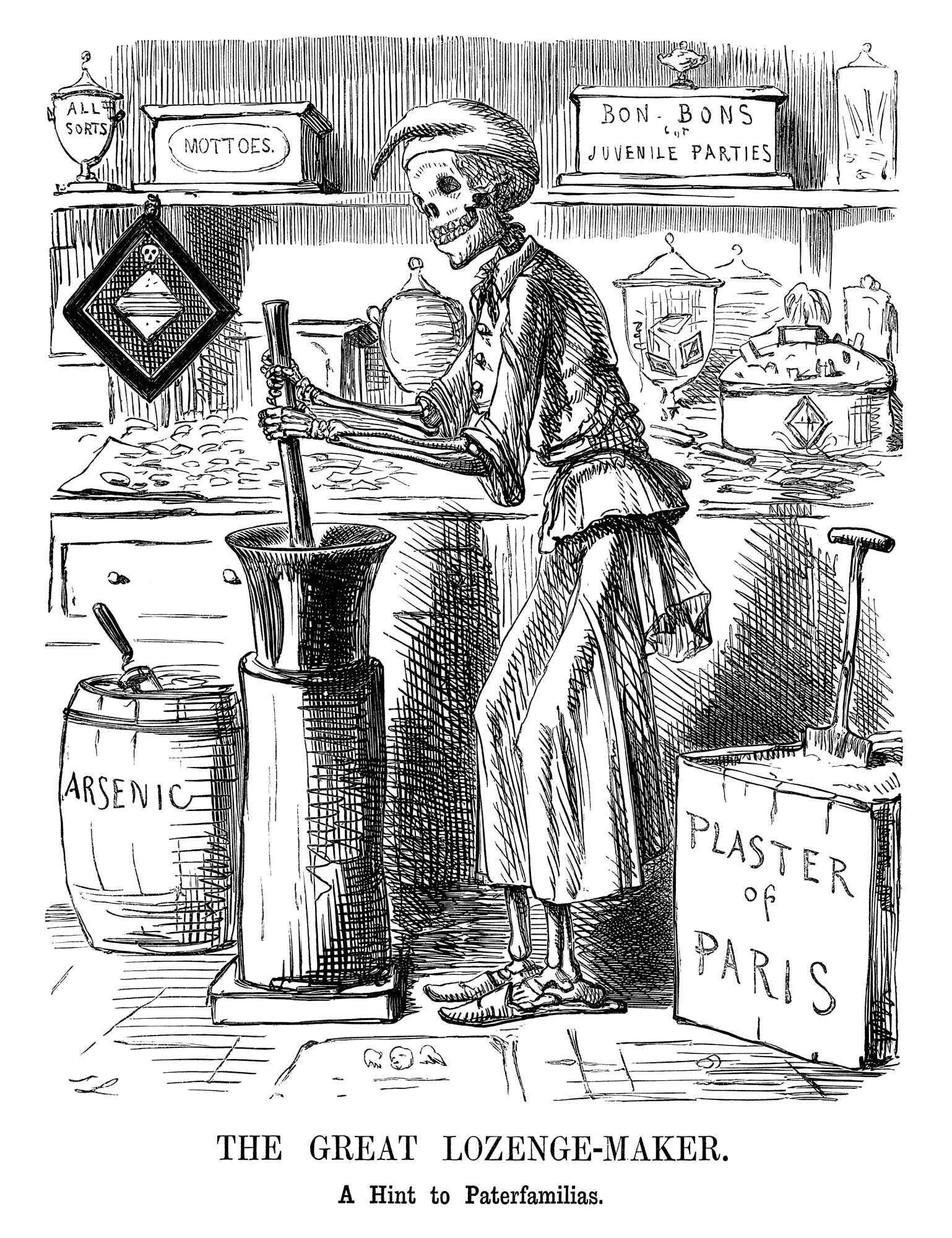 Comic cartoon about food adulteration, 1858, from Punch