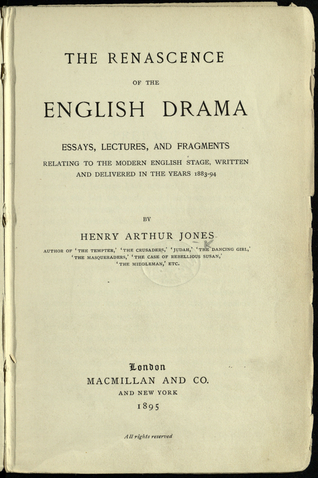 Essays And Lectures On English Drama  The British Library