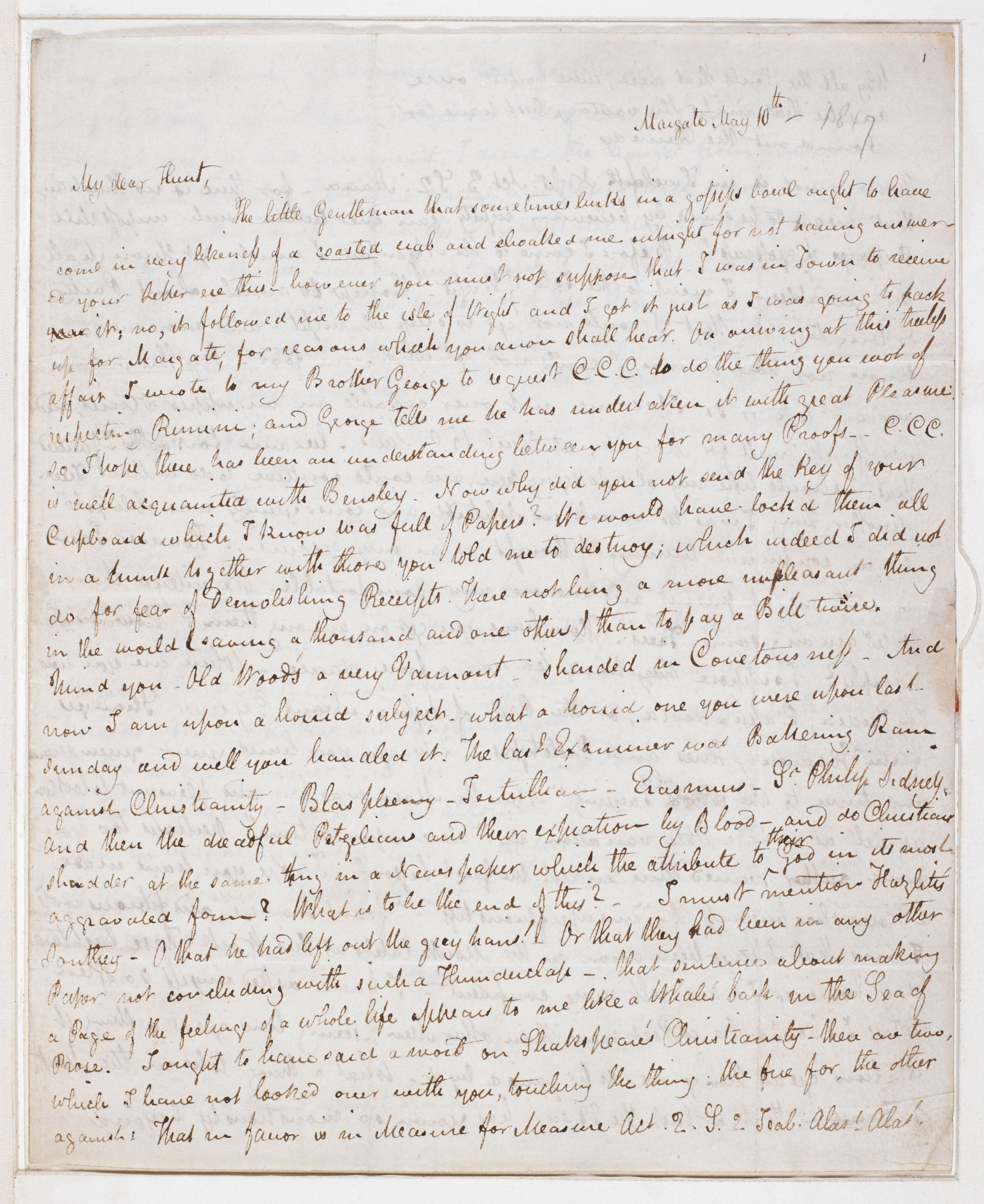 Letter from John Keats discussing the calling of the poet