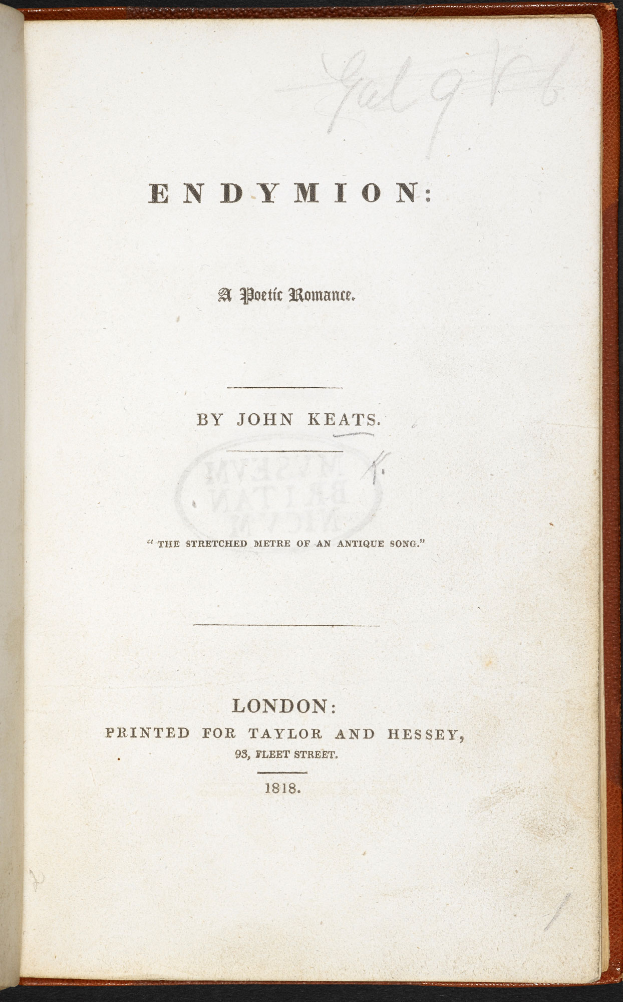 First edition of Keats's Endymion