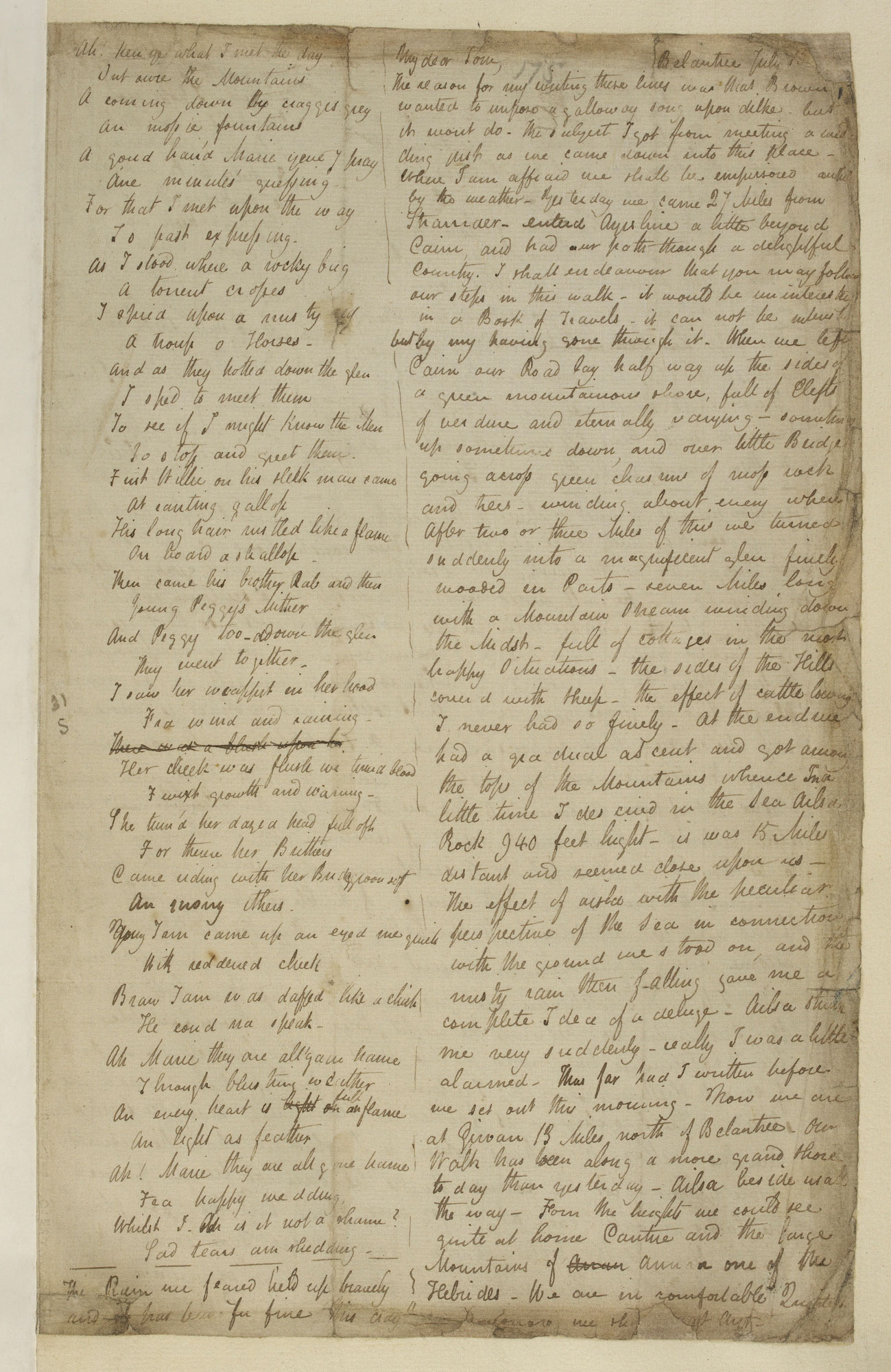 Letter from John Keats to his brother during his walking