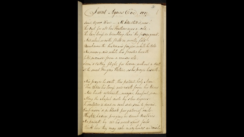 Manuscript of 'St Agnes Eve' by John Keats