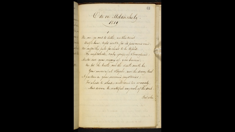 Manuscript of 'Ode on Melancholy' by John Keats