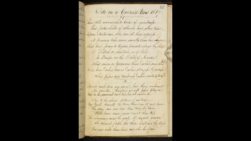 Manuscript of 'Ode on a Grecian Urn' by John Keats