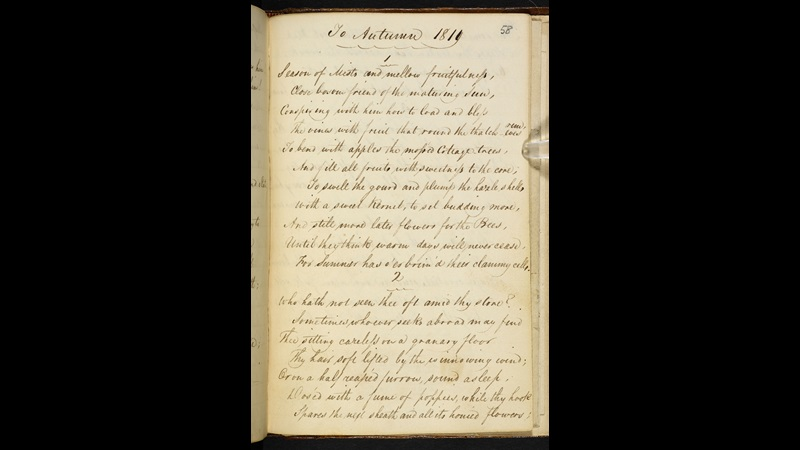 Manuscript of 'To Autumn' by John Keats
