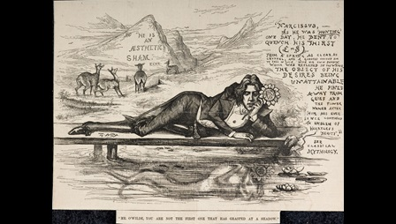 Caricature of Oscar Wilde as Narcissus from a collection of portraits etc.