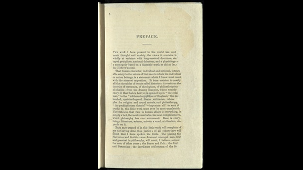 Page containing the opening of the preface, from The Races of Men