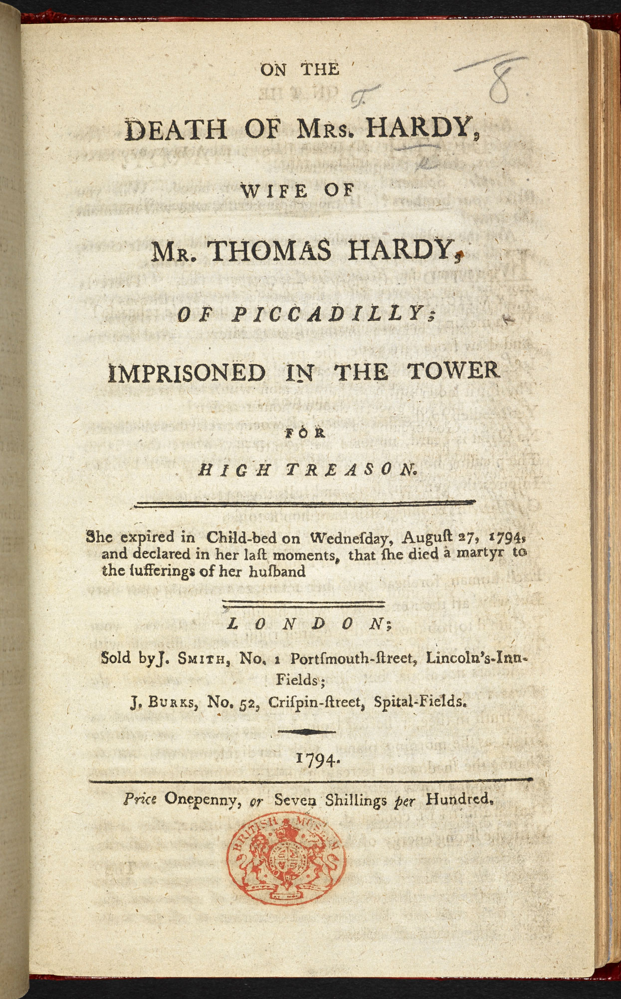 On the Death of Mrs Hardy, a radical pamphlet