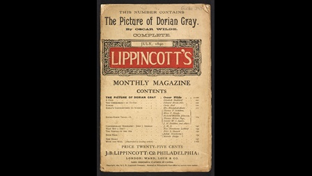 Front cover to Lippincott's Magazine, advertising that this issue contains The Picture of Dorian Gray by Oscar Wilde