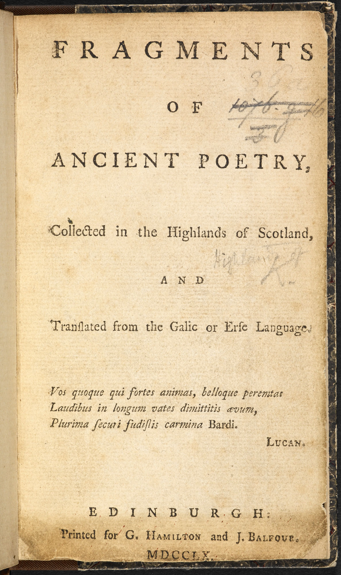 Fragments of Ossian, an invented early Scots epic poem