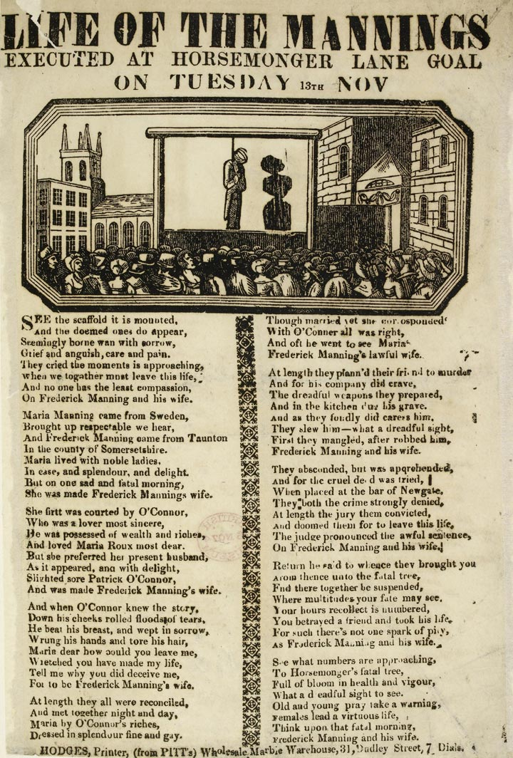 A broadside on the execution of the Mannings