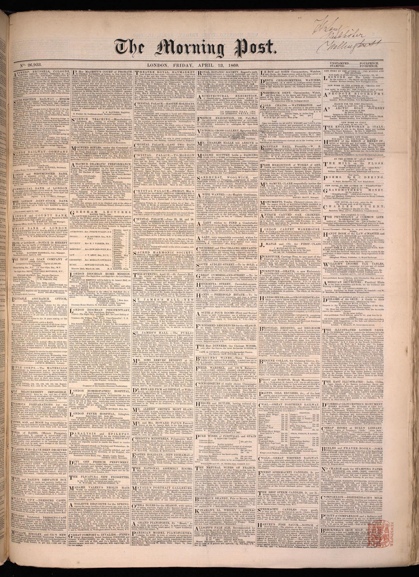 Advertisement for a house for 'fallen women' from the Morning Post