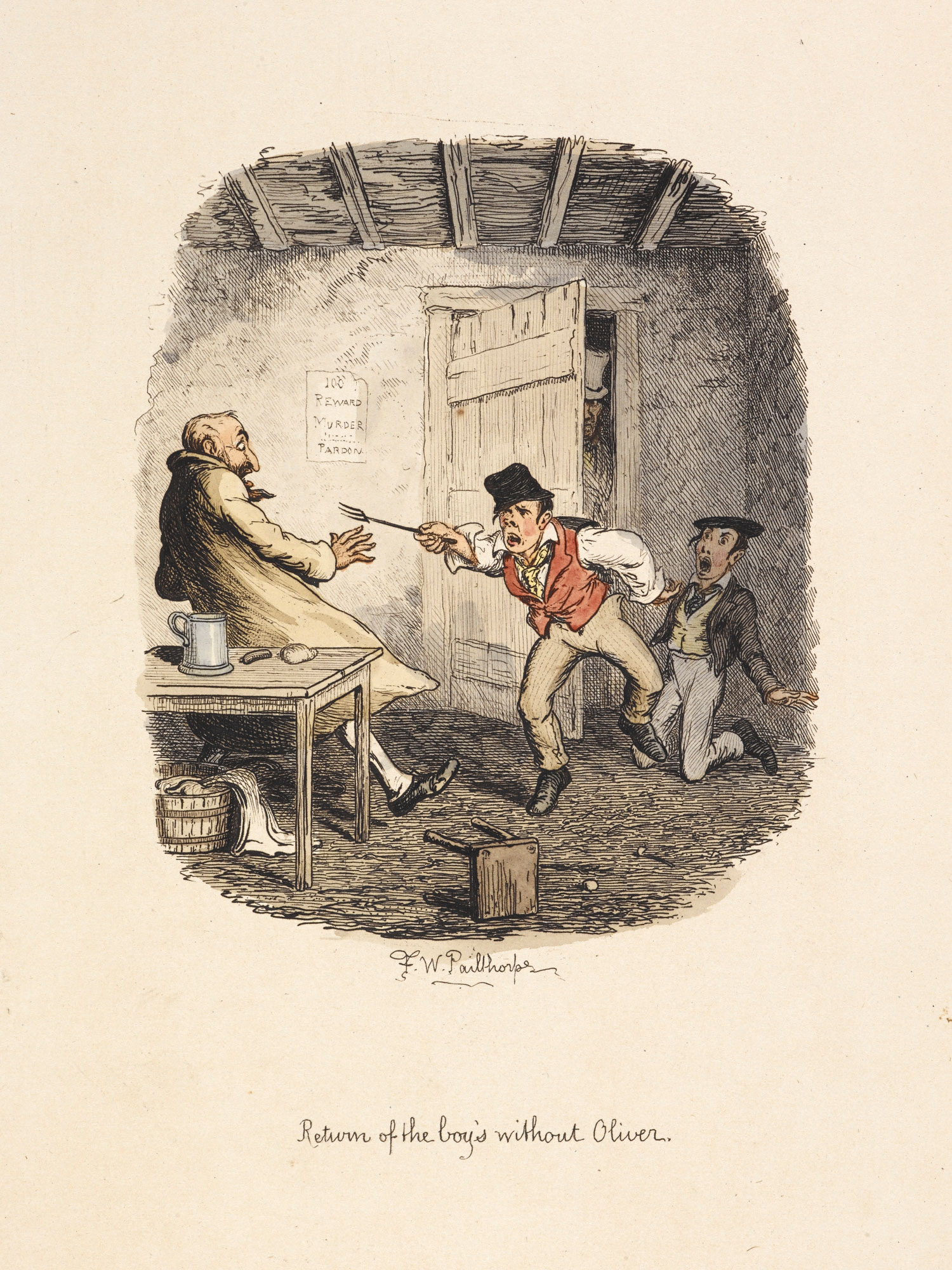 Colour illustrations from 1885 edition of Oliver Twist