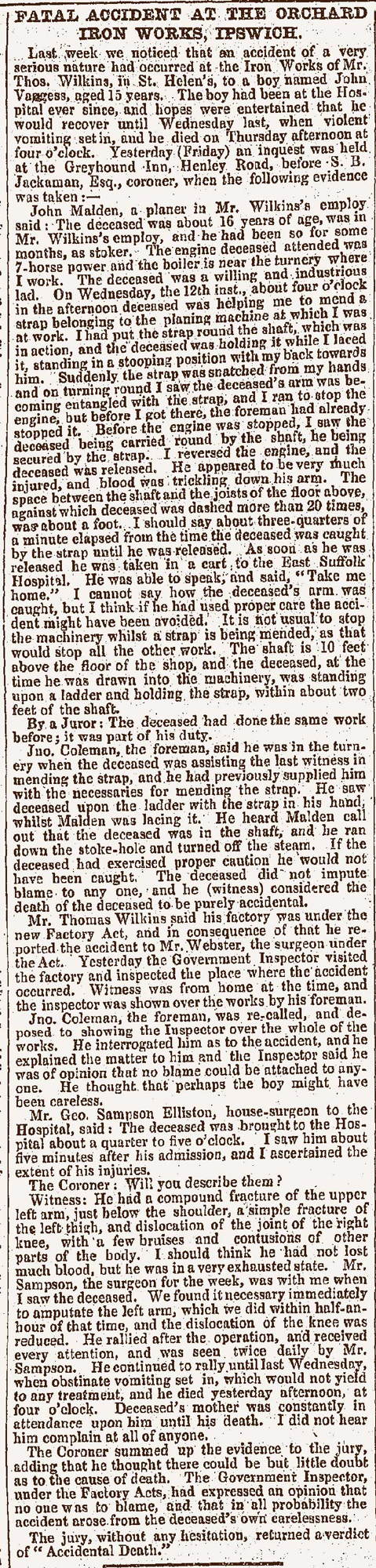 Newspaper report of fatal accident at iron works