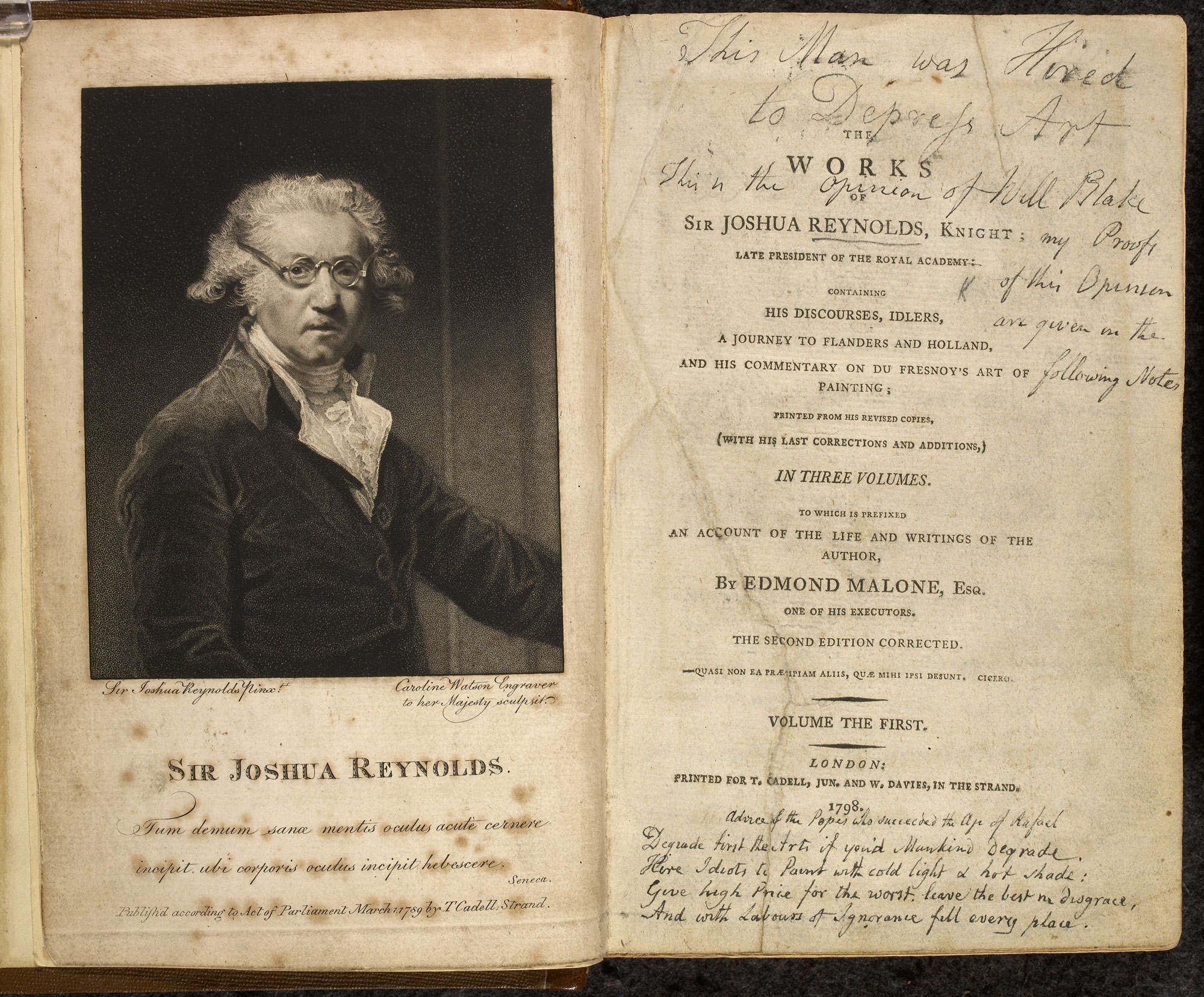 The Works of Sir Joshua Reynolds with William Blake's manuscript notes