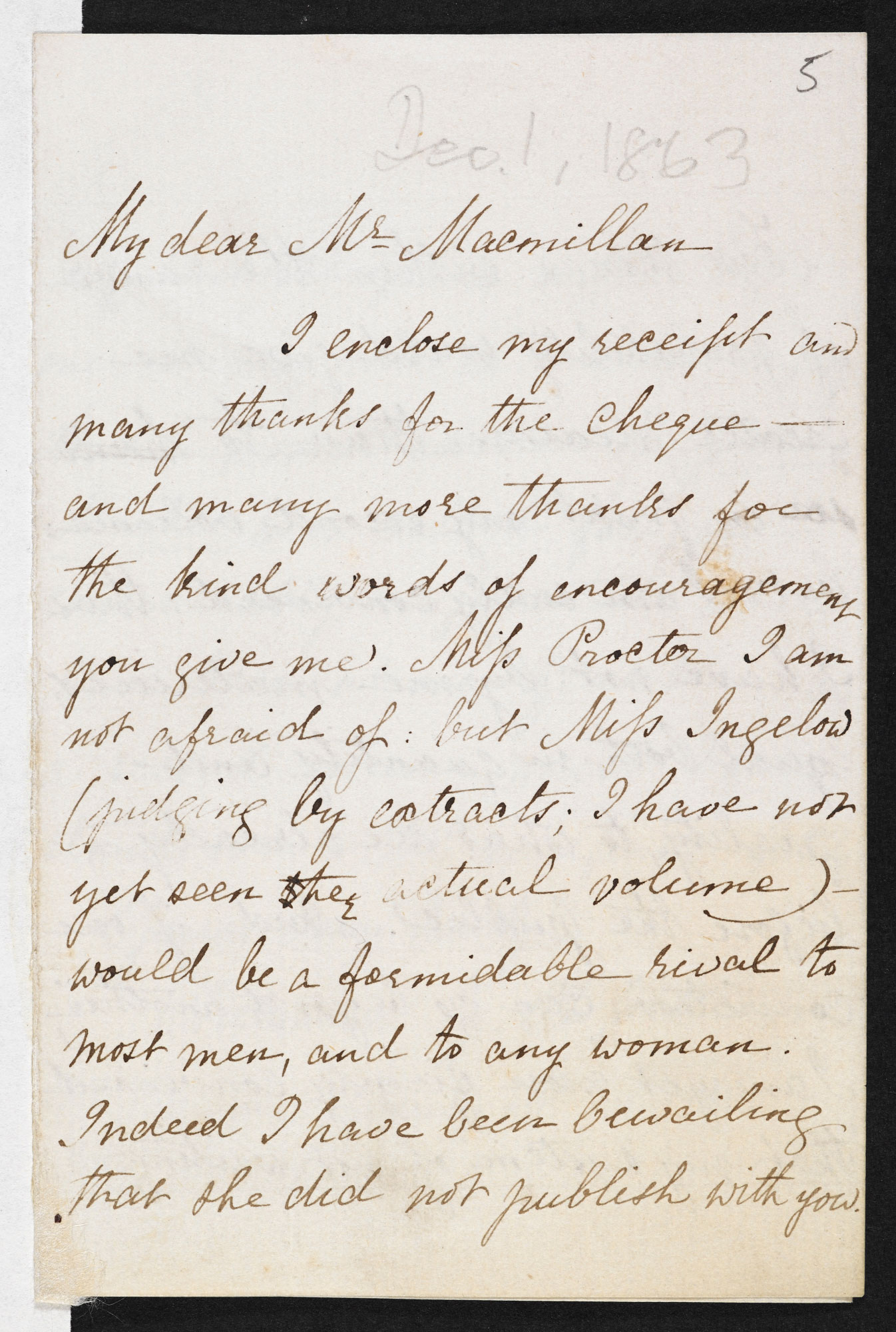 Letters between Christina Rossetti, Dante Gabriel Rossetti and Alexander Macmillan, 1860-94