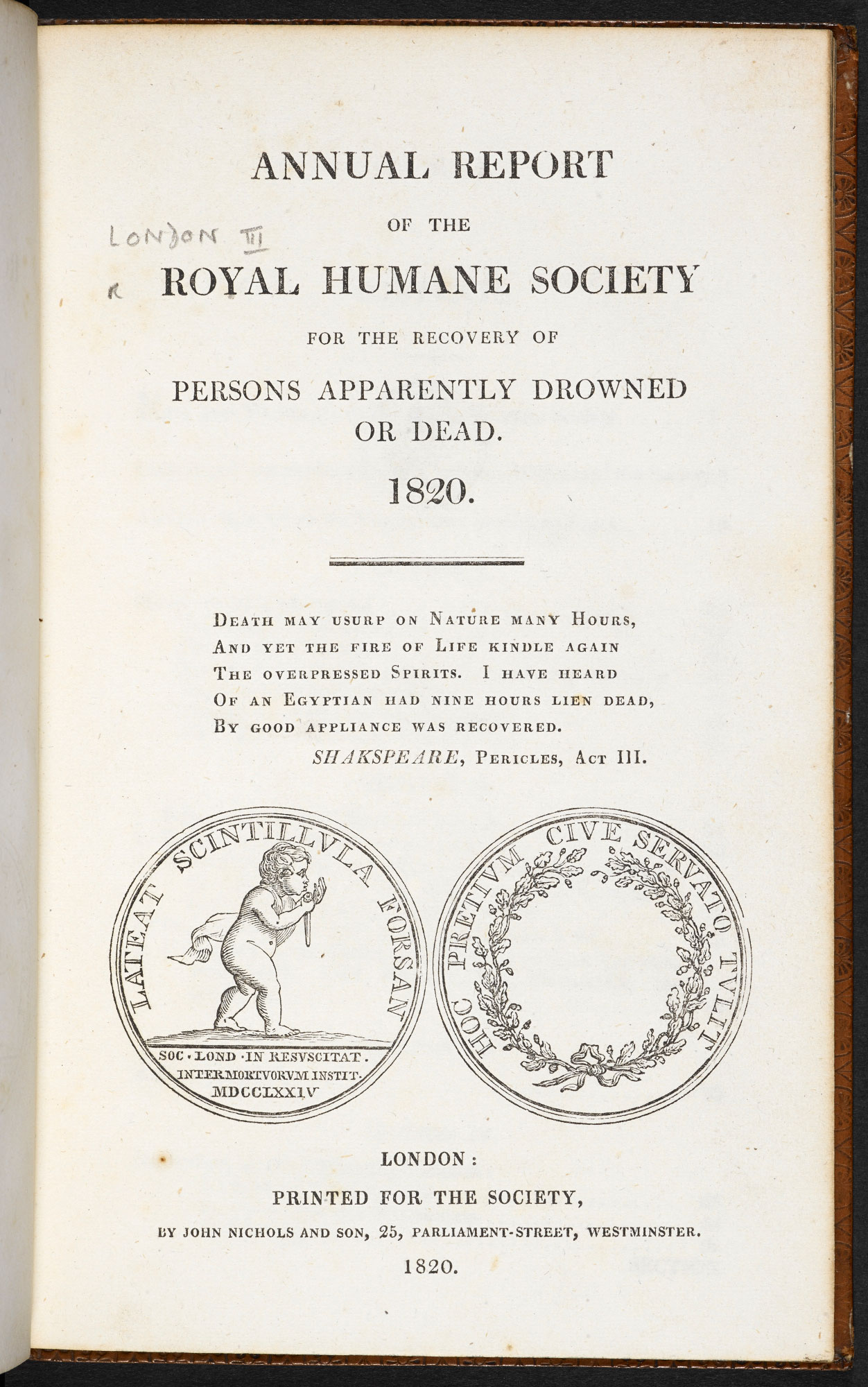 Annual report of the Royal Humane Society concerning drowned persons