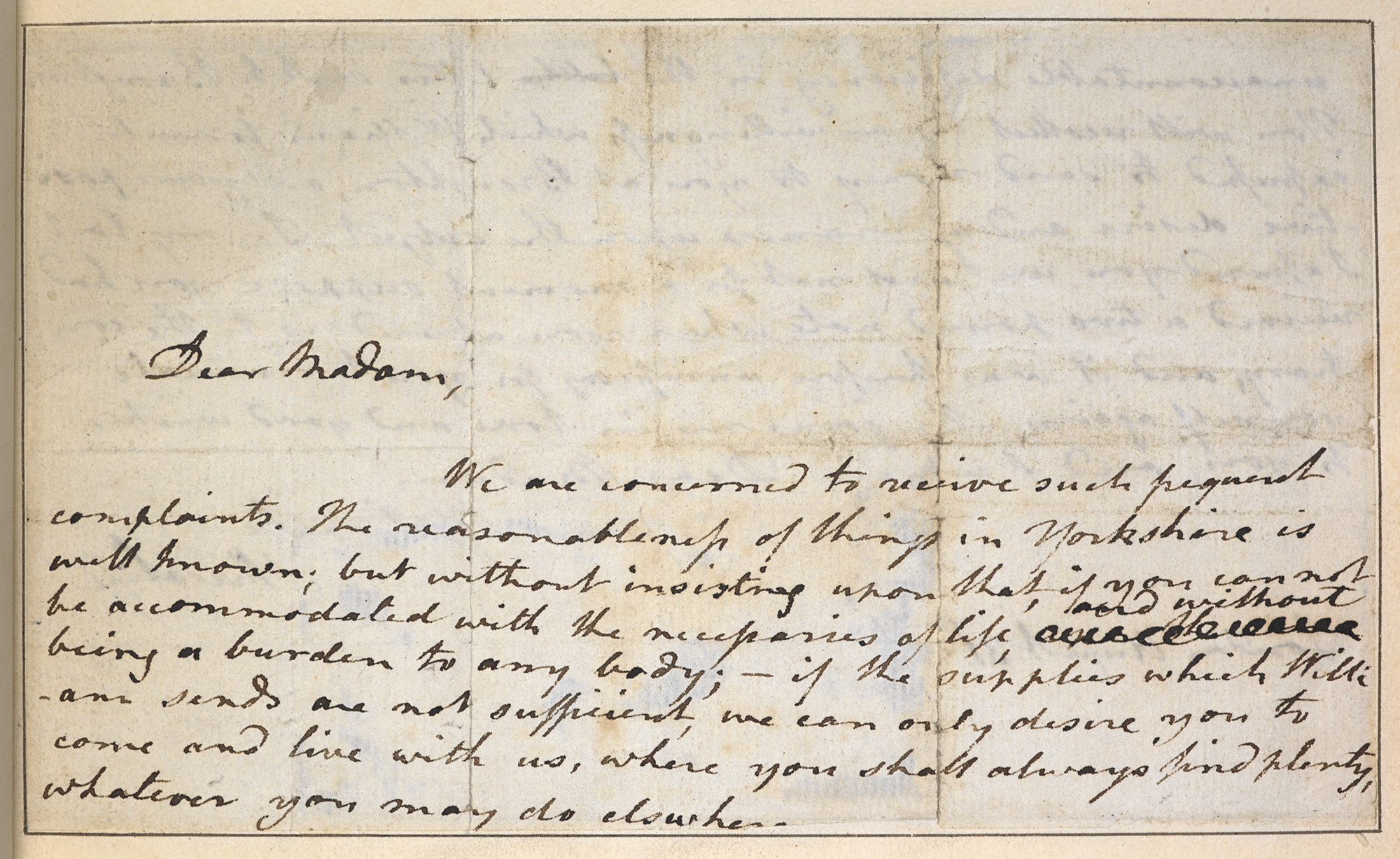 Letter from Ann Radcliffe to her mother-in-law