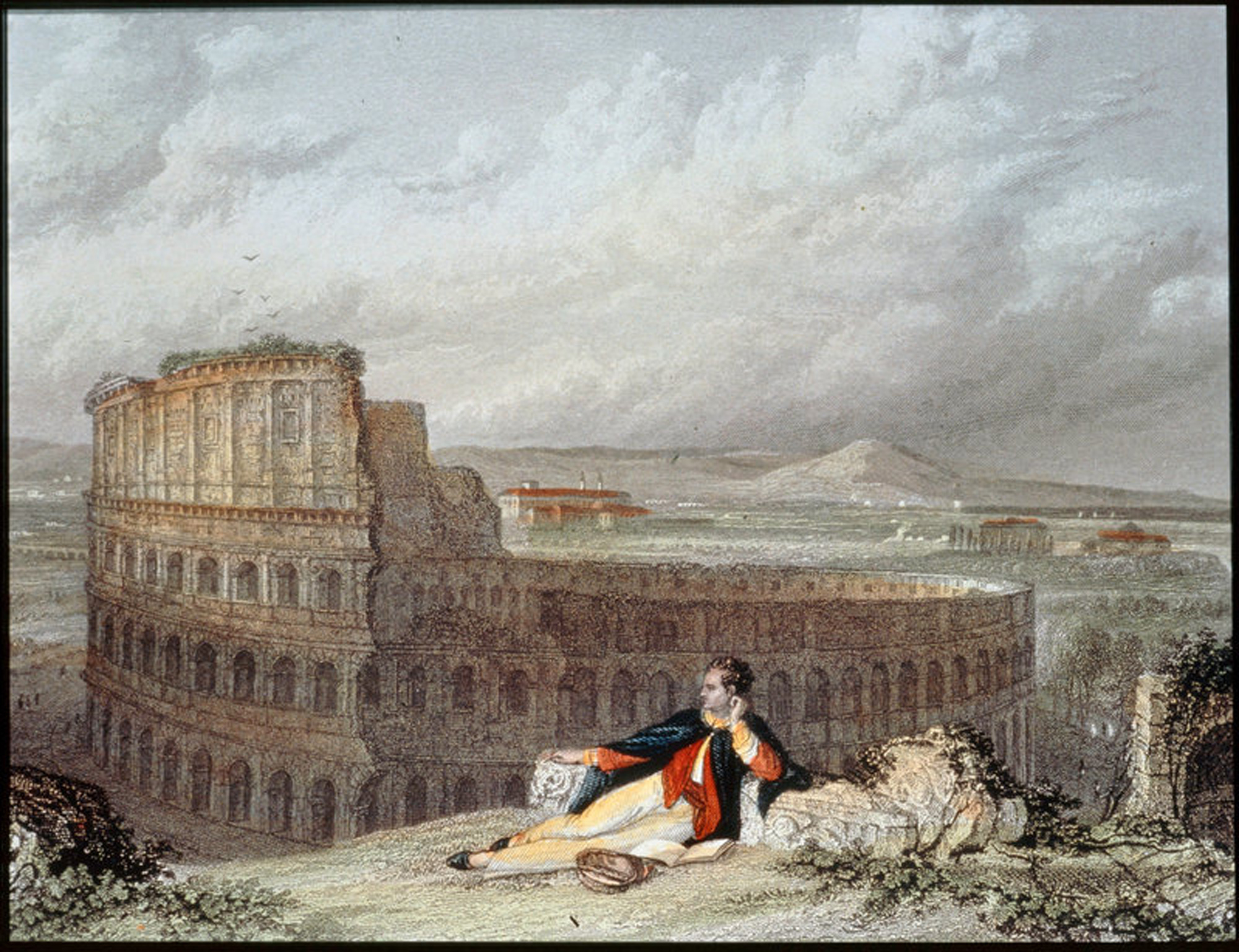 Lord George Byron contemplating the Colosseum in Rome