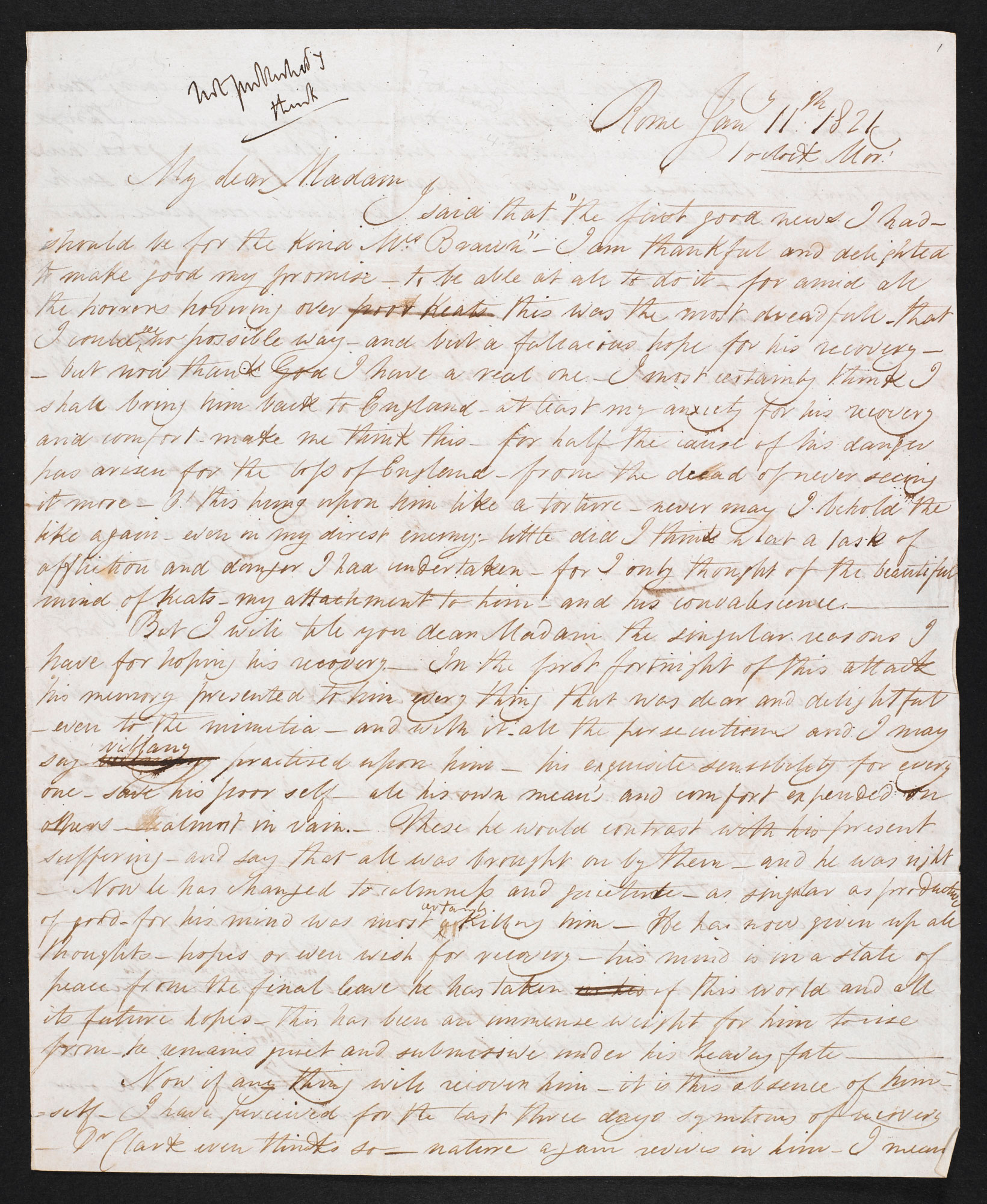 Letter from Joseph Severn about John Keats's last illness