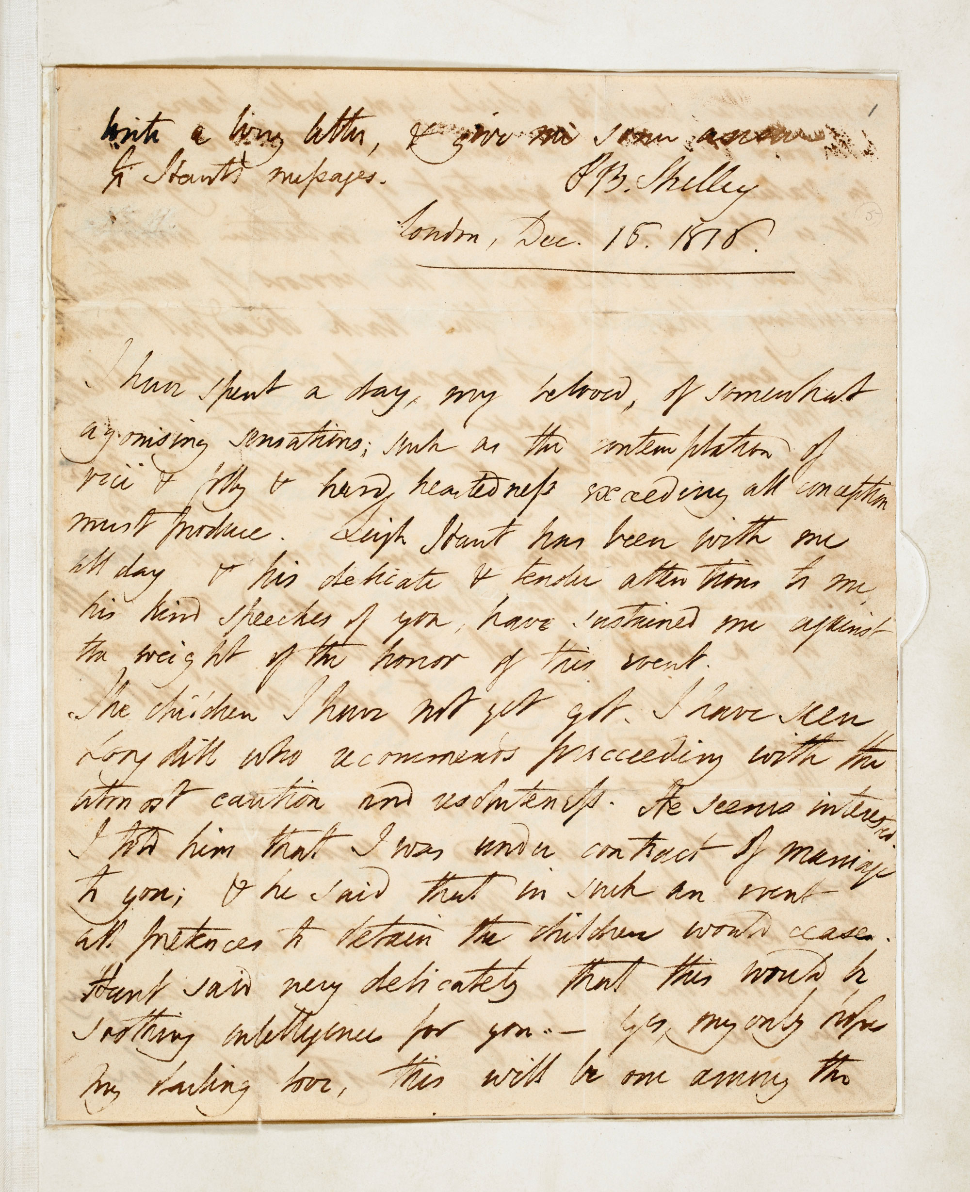 Letters concerning the relationship between P B Shelley and Mary