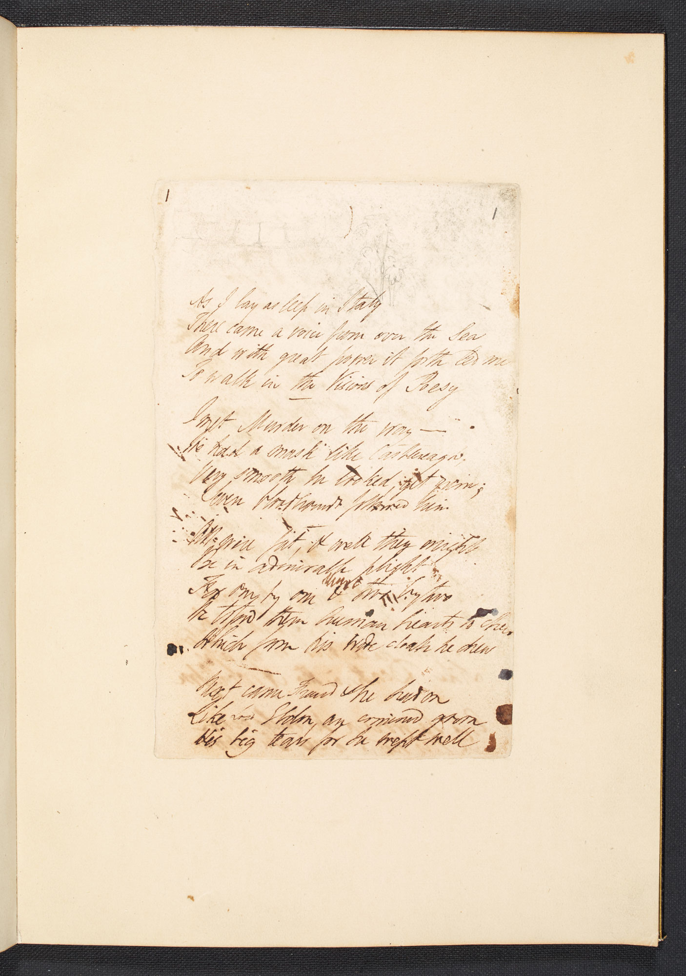 Manuscript of P B Shelley's 'The Masque of Anarchy'