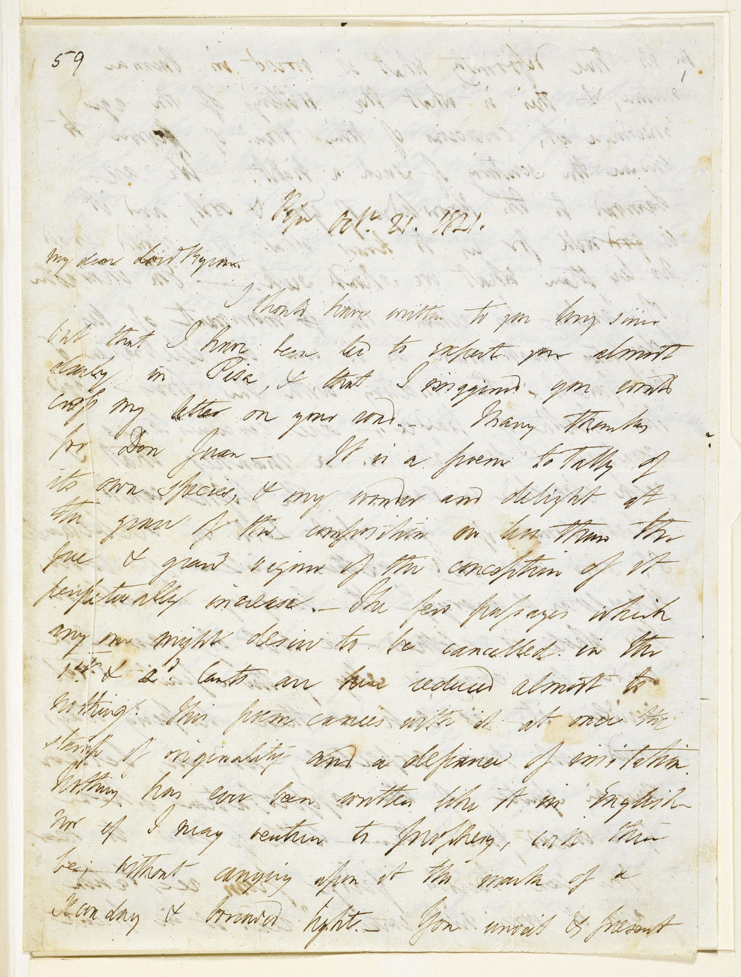 Letter from P B Shelley to Lord Byron, concerning Byron's poem 'Don Juan'