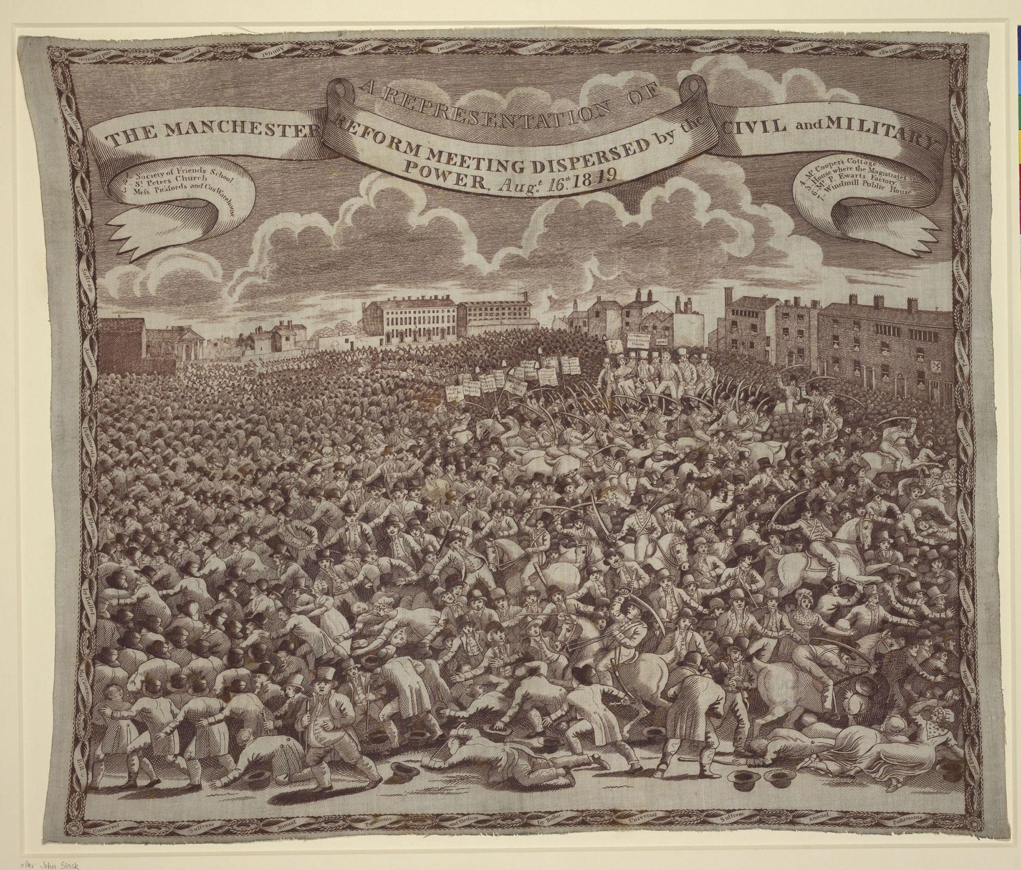 Handkerchief representing the Peterloo Massacre