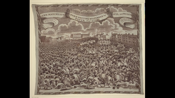 Handkerchief with print of the Peterloo Massacre, showing yeomanry drawing their swords and charging into the large crowd of protestors, some of whom are lying on the ground injured