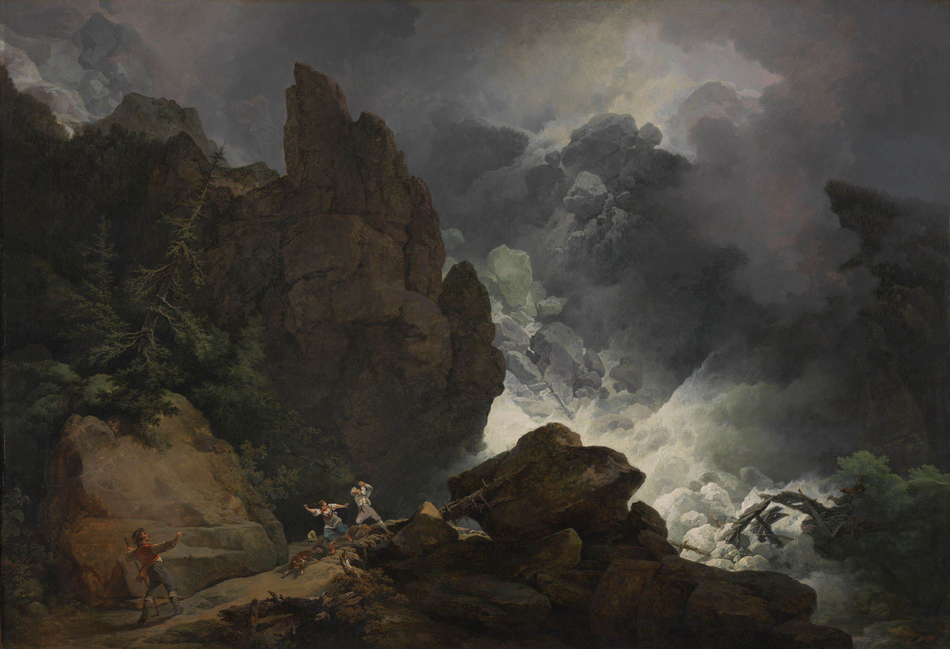 An Avalanche in the Alps, a sublime landscape painting by Philip James De Loutherbourg