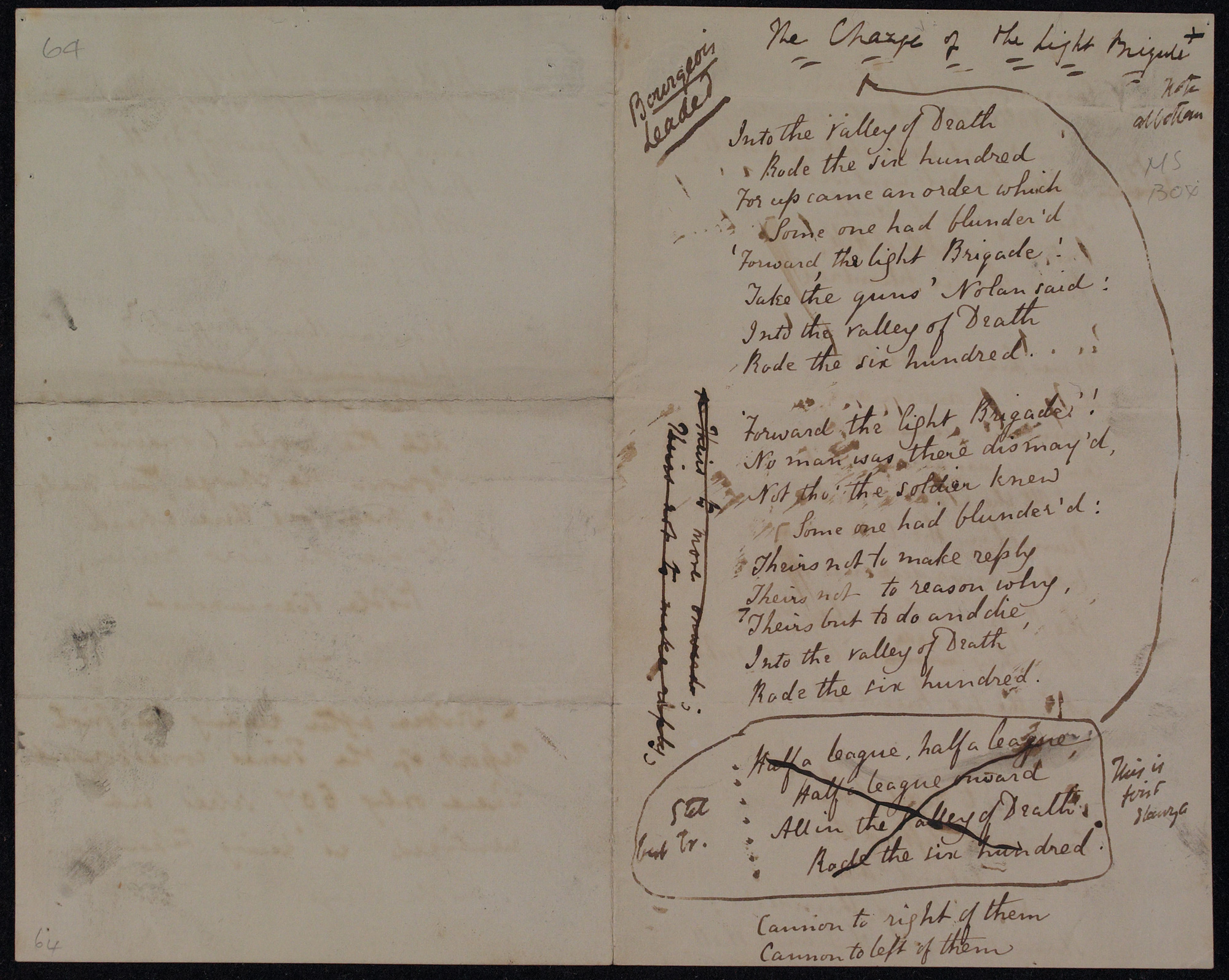 Proof of 'The Charge of the Light Brigade' by Alfred Tennyson