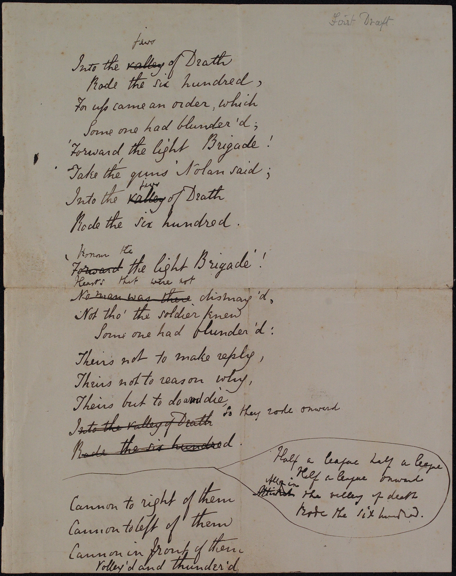 First draft of 'The Charge of the Light Brigade' by Alfred Tennyson