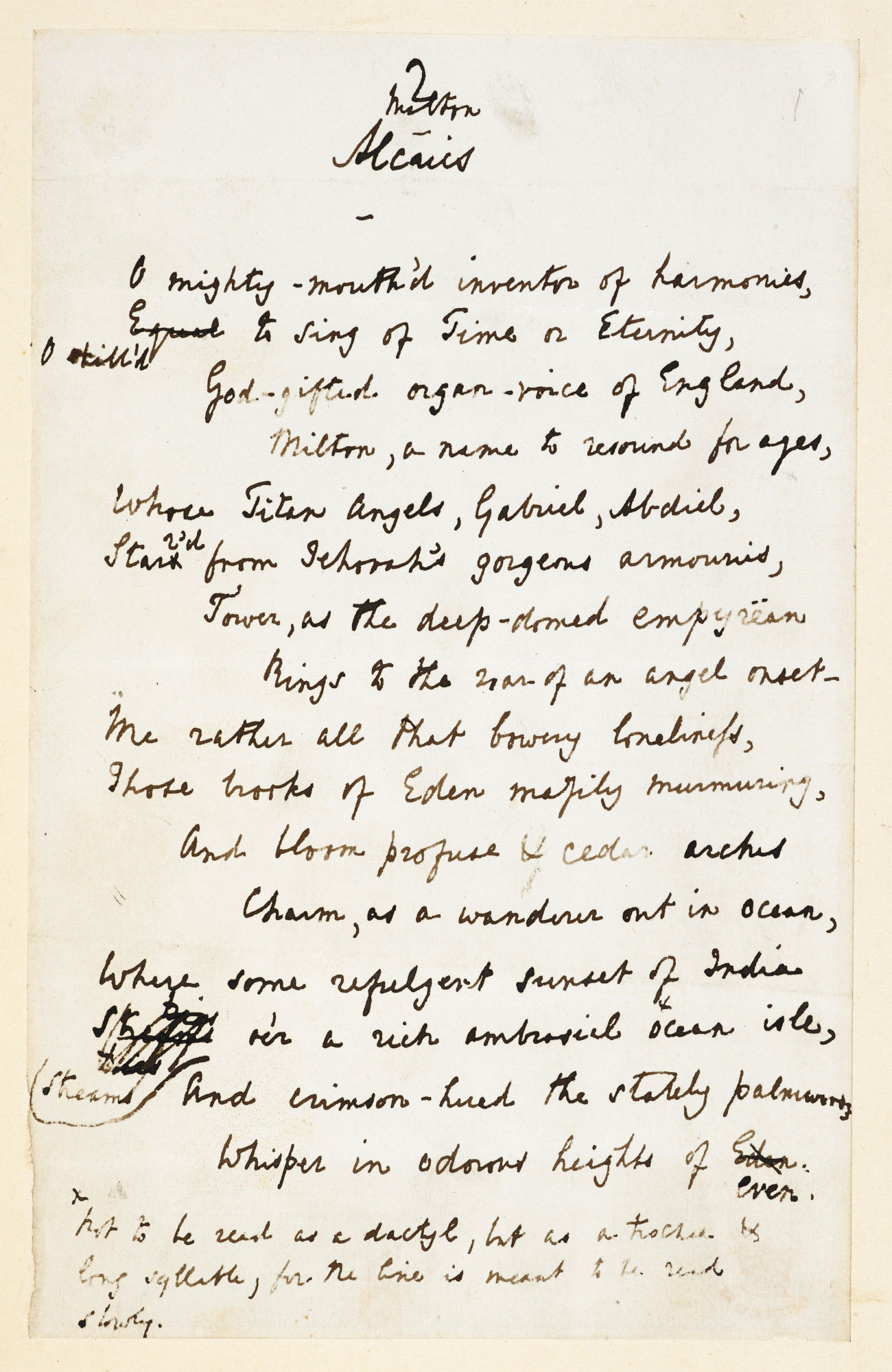 'Experiments in Quantity', manuscript poems by Lord Alfred Tennyson