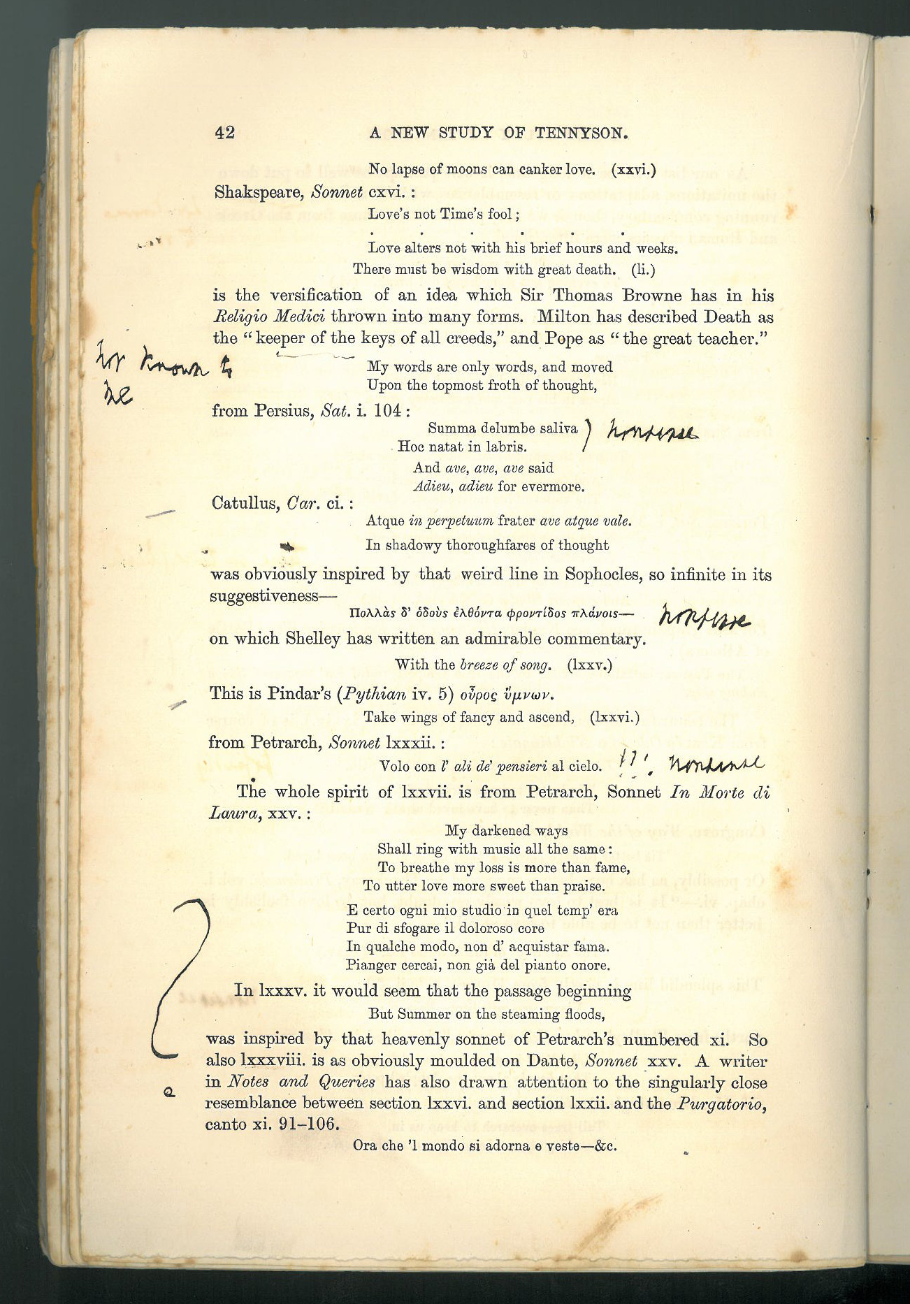 Alfred Tennyson's notes on A New Study of Tennyson