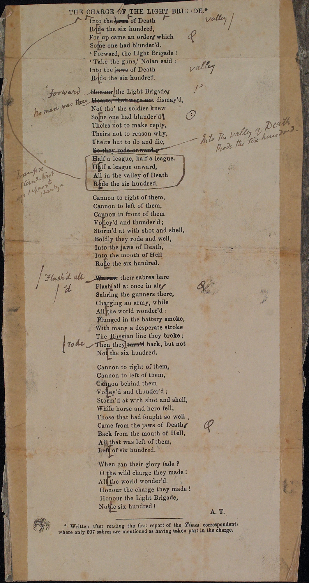 Galley proof of 'The Charge of the Light Brigade' by Alfred Tennyson