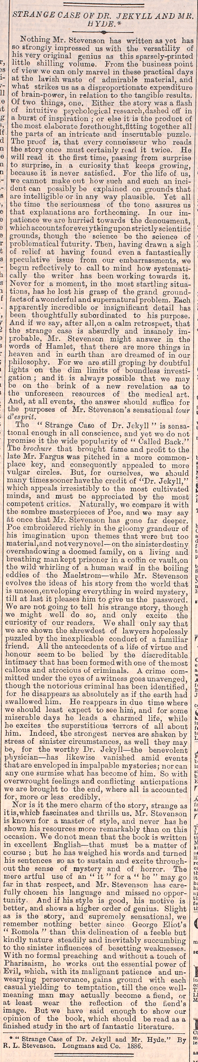 The Times review of Strange Case of Dr Jekyll and Mr Hyde