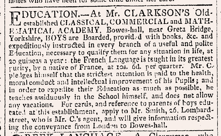 Advertisement for Bowes Academy from The Times
