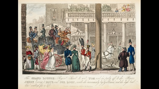Illustration depicting a horse drawn carriage travelling down a street and groups of people, some in military dress and fashionable dresses, from the Adventures of Tom, Jerry, and Logic