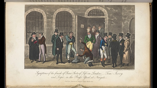 Illustration depicting people gathered outside an door to Newgate prison and a man having an iron leg restraint nailed together, from Life in London