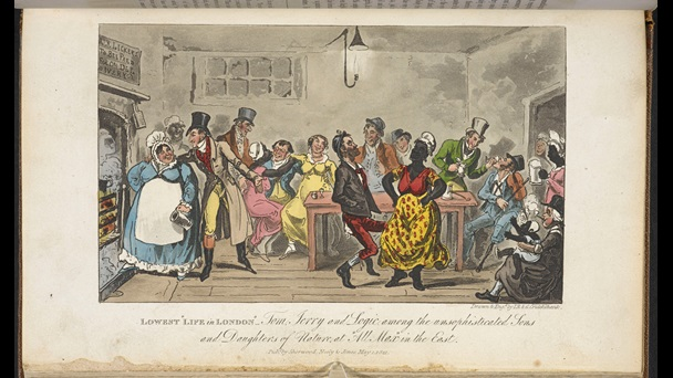 Illustration depicting men and women drinking, socialising and dancing to a tune played by a man with a violin, from Life in London. The group includes white people as well as some black women and a baby.