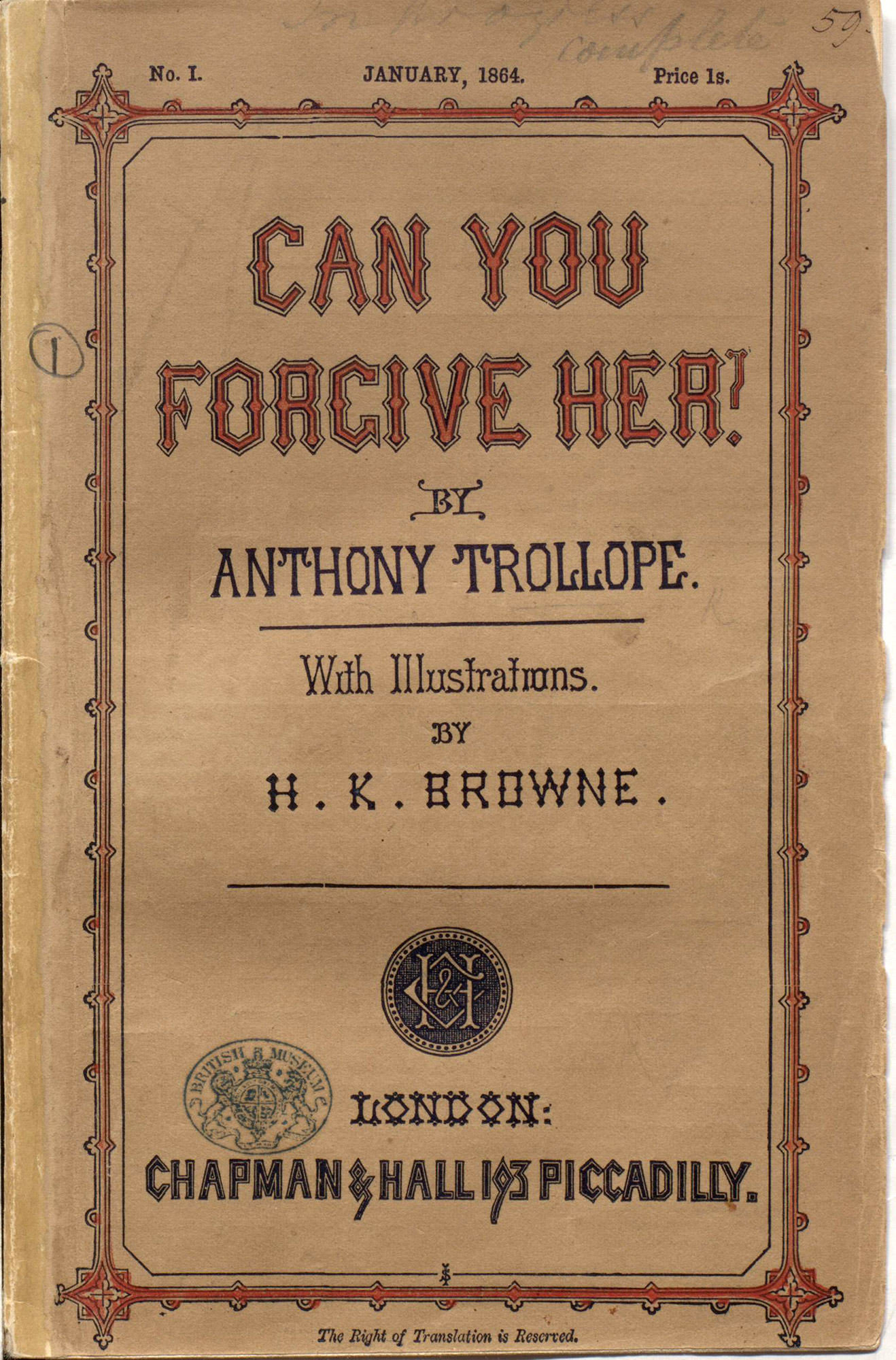 Can You Forgive Her? by Trollope, with illustrations by H K Browne